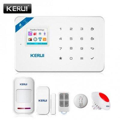 Охранная сигнализация KERUI W18, Wi-Fi, GSM. Датчик открытия, датчик движения, датчик дыма, беспроводная сирена, брелок
